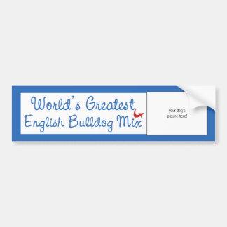 Custom Photo! Worlds Greatest English Bulldog Mix Car Bumper Sticker
