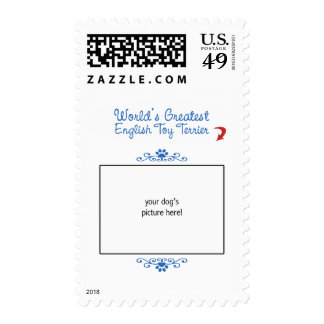 Custom Photo! Worlds Greatest English Toy Terrier Postage Stamp