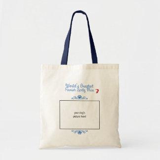 Custom Photo! Worlds Greatest Finnish Spitz Mix Canvas Bags