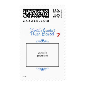 Custom Photo! Worlds Greatest Hush Basset Postage Stamps