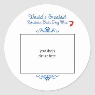 Custom Photo Worlds Greatest Karelian Bear Dog Mix Round Sticker