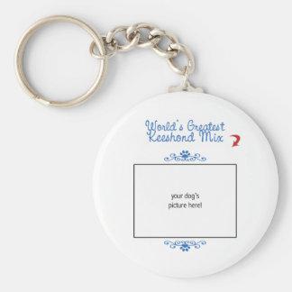 Custom Photo! Worlds Greatest Keeshond Mix Basic Round Button Keychain
