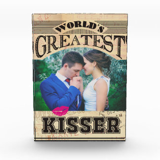 Custom photo worlds greatest kisser award