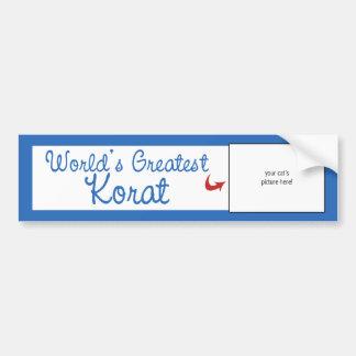 Custom Photo! Worlds Greatest Korat Bumper Sticker