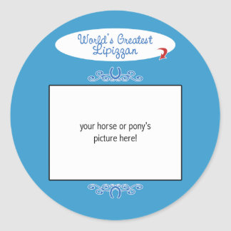 Custom Photo! Worlds Greatest Lipizzan Classic Round Sticker