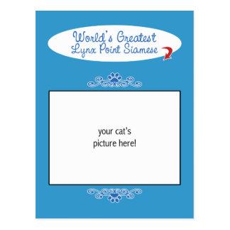 Custom Photo! Worlds Greatest Lynx Point Siamese Postcard