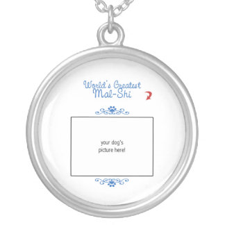 Custom Photo! Worlds Greatest Mal-Shi Silver Plated Necklace