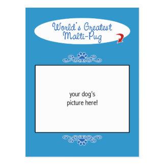 Custom Photo! Worlds Greatest Malti-Pug Postcard