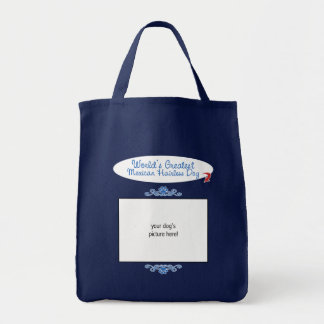 Custom Photo! Worlds Greatest Mexican Hairless Dog Grocery Tote Bag