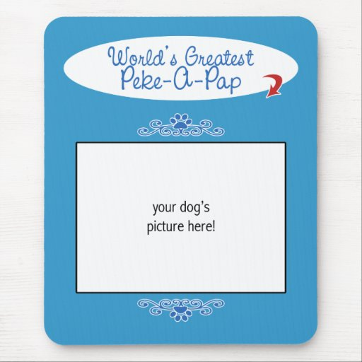Custom Photo! Worlds Greatest Peke-A-Pap Mouse Pad