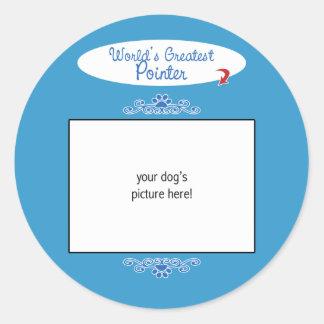 Custom Photo! Worlds Greatest Pointer Round Sticker