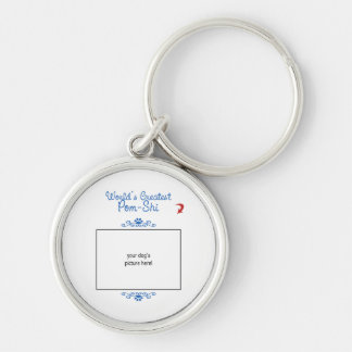 Custom Photo! Worlds Greatest Pom-Shi Silver-Colored Round Keychain