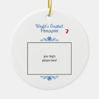 Custom Photo! Worlds Greatest Pomapoo Christmas Ornament