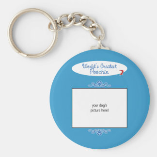 Custom Photo! Worlds Greatest Poochin Basic Round Button Keychain