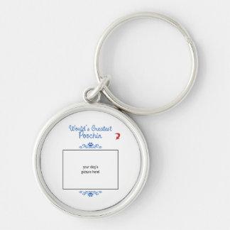 Custom Photo! Worlds Greatest Poochin Silver-Colored Round Keychain