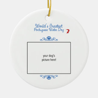 Custom Photo! Worlds Greatest Portuguese Water Dog Double-Sided Ceramic Round Christmas Ornament