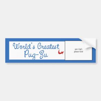Custom Photo! Worlds Greatest Pug-Zu Car Bumper Sticker