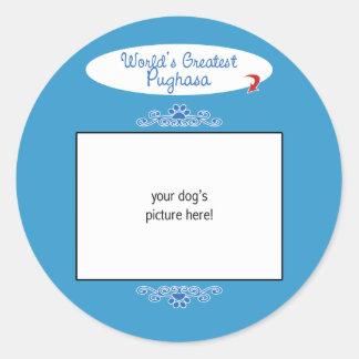 Custom Photo! Worlds Greatest Pughasa Round Stickers