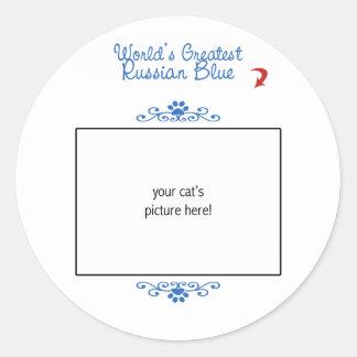 Custom Photo! Worlds Greatest Russian Blue Classic Round Sticker