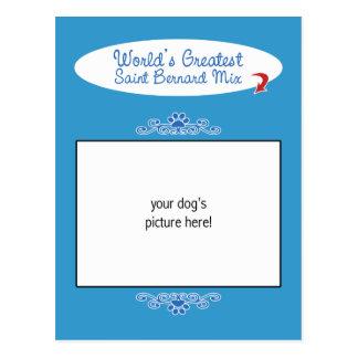 Custom Photo! Worlds Greatest Saint Bernard Mix Postcard