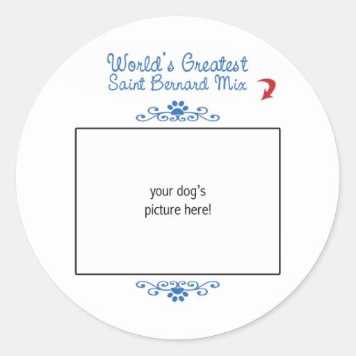 Custom Photo! Worlds Greatest Saint Bernard Mix Classic Round Sticker