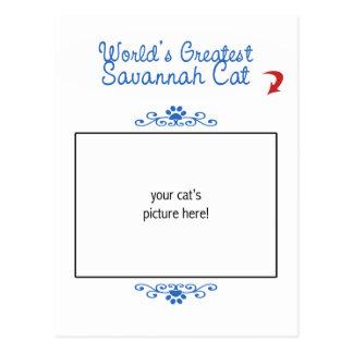 Custom Photo! Worlds Greatest Savannah Cat Postcard