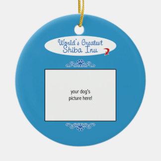 Custom Photo! Worlds Greatest Shiba Inu Ceramic Ornament