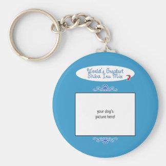 Custom Photo! Worlds Greatest Shiba Inu Mix Basic Round Button Keychain