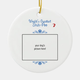 Custom Photo! Worlds Greatest Shih-Poo Double-Sided Ceramic Round Christmas Ornament