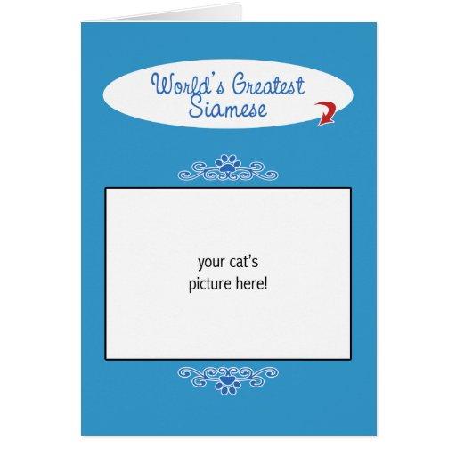 Custom Photo! Worlds Greatest Siamese Greeting Card