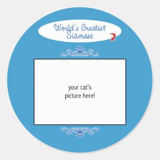 Custom Photo! Worlds Greatest Siamese Classic Round Sticker