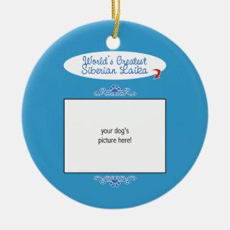 Custom Photo! Worlds Greatest Siberian Laika Double-Sided Ceramic Round Christmas Ornament