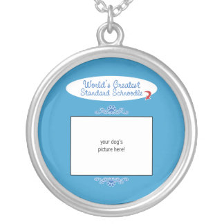 Custom Photo! Worlds Greatest Standard Schnoodle Round Pendant Necklace