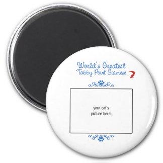 Custom Photo! Worlds Greatest Tabby Point Siamese 2 Inch Round Magnet