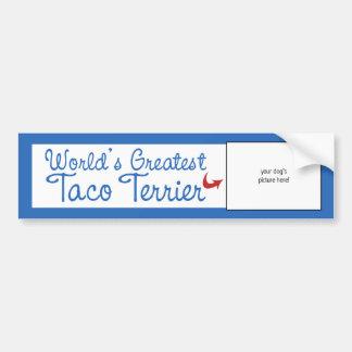 Custom Photo! Worlds Greatest Taco Terrier Car Bumper Sticker