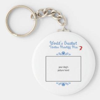 Custom Photo! Worlds Greatest Tibetan Mastiff Mix Basic Round Button Keychain