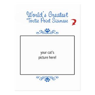 Custom Photo! Worlds Greatest Tortie Point Siamese Postcard
