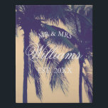 "Custom photo wrapped canvas with light foam core<br><div class=""desc"">Custom photo wrapped canvas with light weight foam core. Much lighter than traditional wood canvas wraps. Uplaod your own picture and add your own text. Example image for wedding couple in tropical beach destination with palm trees. Text template for Mr and Mrs family name plus date of marriage. Elegant gift...</div>"