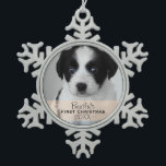 "Custom Photo Year Puppy&#39;s First Christmas Snowflake Pewter Christmas Ornament<br><div class=""desc"">This ornament is sure to be a keepsake that will be cherished for years to come. Customize with your own photo and personalize with puppy&#39;s name and the year! Give as a gift to relatives or keep for yourself,  it&#39;s up to you!</div>"
