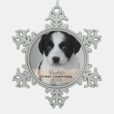 Custom Photo Year Puppy's First Christmas Snowflake Pewter Christmas Ornament at Zazzle