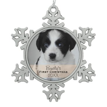 Christmas Themed Custom Photo Year Puppy's First Christmas Snowflake Pewter Christmas Ornament