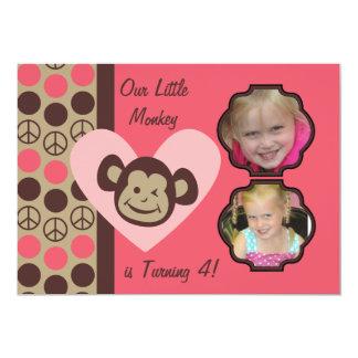 "Custom Photos Girls Peace Monkey Birthday Invites 5"" X 7"" Invitation Card"