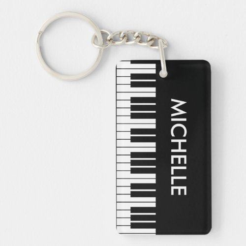 Custom piano keys keychain for pianist or teacher