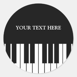 Custom piano keys round stickers for pianist