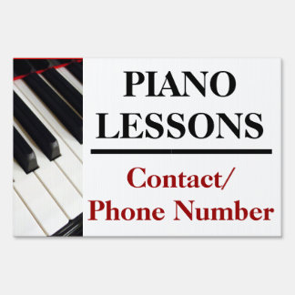 Custom Piano Lessons Yard Sign Ad