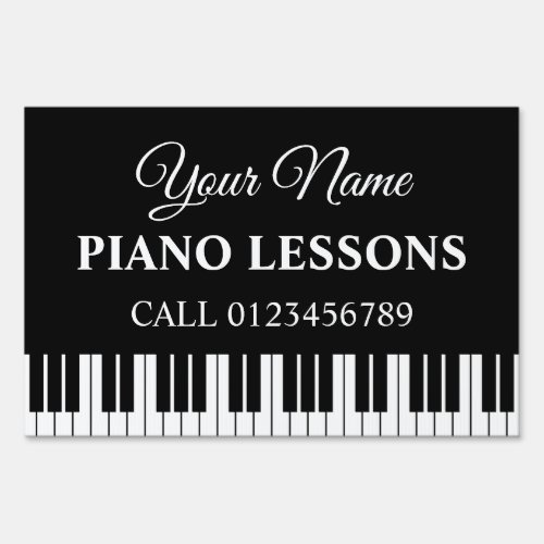Custom piano lessons yard sign for music teacher