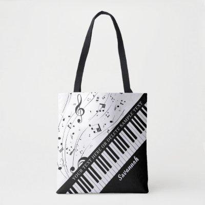 Custom Piano Music Notes Script Name Black White Tote Bag