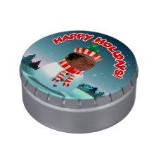 Custom Picture Snowman Cartoon Candy Tin