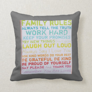 custom pillow-- ink spots  FAMILY RULES Throw Pillow