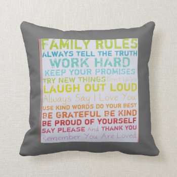 Custom Pillow-- Ink Spots  Family Rules Throw Pillow by CREATIVEforHOME at Zazzle